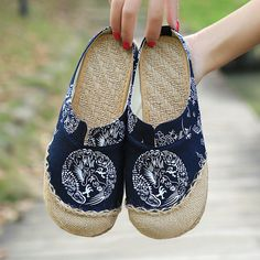 $18.88 Dargon Flower Print Flax Open Heel Color Match National Wind Slip On Flat Shoes