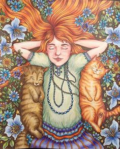#sommarnatt #summernights #hannakarlzon #coloringbook This one somehow turned out as a self portrait with my two cats  maybe that's why I was affected to this picture in the first place