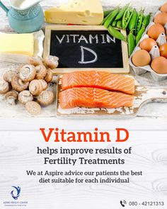 Vitamin D helps improve results of fertility treatments. We at Aspire advice our patients the best diet suitable for each individual. Ivf Treatment, Infertility Treatment, Ivf Center, Fertility Center, Vitamin D, Best Diets, Pcos, Advice, Tips