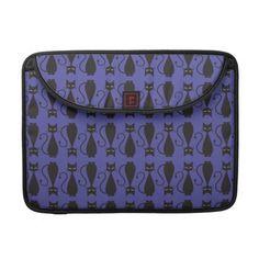 Purple and Black Goth Cat Pattern MacBook Pro Sleeve
