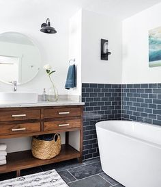 The perfect mix of modern and rustic bathroom | Subway tile | wood vanity | slate floor