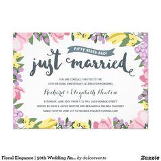 Floral Elegance   50th Wedding Anniversary 5x7 Paper Invitation Card