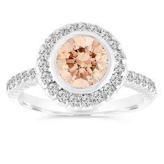Fancy Champagne Diamond Engagement Ring, Brown Diamond Wedding Ring 14K White Gold Bezel Set Halo Pave Certified Handmade