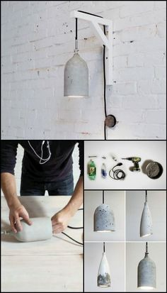 100 DIY Pendant Light Projects to Make Your Home Decor Easy DIY concrete pendant light tutorial Diy Pendent Light, Pendant Light Fixtures, Pendant Lights, Pendant Lamps, Wall Hanging Lights, Diy Hanging, Concrete Light, Concrete Lamp, Diy Home Decor Easy