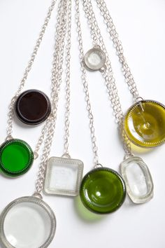 Glass jewellery by Laura de Monchy (not dissimilar to spectacle fittings?)