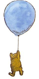 Winnie the Pooh floating under a blue balloon