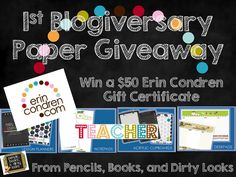 Pencils Books and Dirty Looks: 1st Blogiversary Giveaway- Win a $50 Erin Condren Gift Certificate