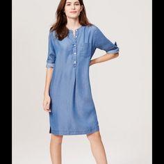 COOL SHIFT DRESS!!! New! Blue chambray Dresses