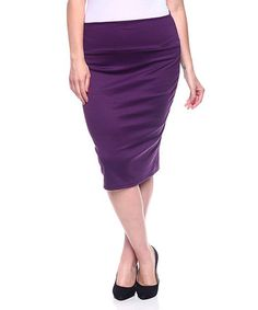 Another great find on #zulily! Eggplant Pencil Skirt - Plus #zulilyfinds