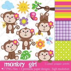 Monkey Girl  Clipart and Digital paper set  by pixelpaperprints