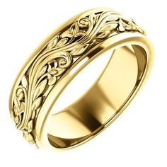 Solid Gold Ring Color: Yellow Gold Finish: Polished Band Style: Sculptural-Inspired Ring Fit: Standard MM: Weight: – grams, varies by ring size Antique Wedding Rings, Unique Wedding Bands, Wedding Ring Bands, Or Rose, Rose Gold, Paisley Wedding, Floral Wedding, 4 Cs Of Diamonds, Men Accessories