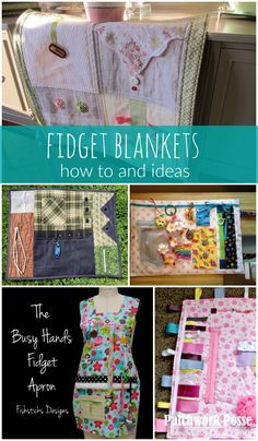 Sewing Weighted Blanket fidget blankets ideas and how tos - Fidget quilts are used for Alzheimer, dementia, and even little kids who need something to do with their hands. Tutorials for busy hand aprons, mats Easy Sewing Projects, Quilting Projects, Sewing Hacks, Sewing Tips, Fleece Projects, Sewing Box, Baby Sewing, Quilt Tutorials, Sewing Tutorials
