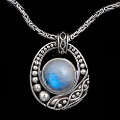 Rainbow Moonstone Balinese Necklace- Sterling Silver, Handmade Chain
