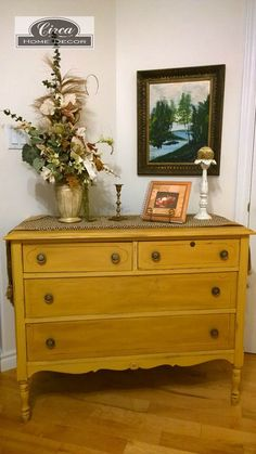 Beautiful Chest of Drawers, Annie Sloan Arles Yellow.  Dark and Clear wax finish for contrast.  www.facebook.com/CircaPtbo