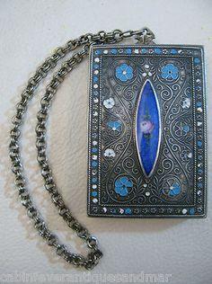Vintage Art Nouveau Deco Silver T Cobalt Blue Enamel Guilloche Dance Compact | eBay
