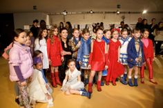 The child models all line up for the TV cameras at Miss Blumarine fall 2014 at Pitti Bimbo in Florence