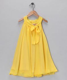 Take a look at this Yellow Bow Yoke Dress - Toddler by Paulinie on #zulily today!