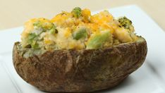 Lunch couldn't be better than a baked potato stuffed with broccoli and cheddar cheese. Try baking your potato at 425ºF for 50 to 60 minutes in the oven.