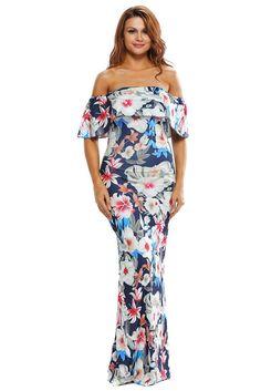 54766022ba3 Blue OTS Floral Print Boho Maxi Summer Dress
