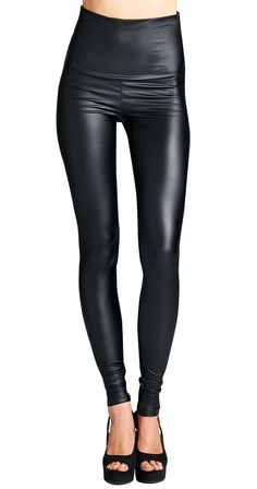 "Cruise Control Leggings The perfect leather look leggings are here. Wear them high waisted or fold over the waistband if that is more comfortable for you. Either way, they pair stylishly with tunics, sweaters and just about anything else.  High waist/foldover waistband Semi matte Non sheer Rise approx 12"" Inseam approx 31"" 96% Poly 4% Spandex"