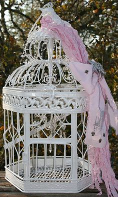 """Shabby Chic Paris Cottage Birdcages made to order at bellamaisontresor. or msg my etsy shop """"Bella Maison Tresors"""" Shabby Chic Cottage, Shabby Chic Homes, Shabby Chic Decor, Cage Deco, Shaby Chic, Ideas Hogar, Vintage Shabby Chic, Vintage Birdcage, Bird Cages"""