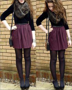 purple skirt, black top, gray scarf, black tights, heels ... Great for winter!