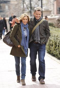 Great casual jacket and scarf ensemble......Tea Leoni Dating Madam Secretary Costar Tim Daly - Us Weekly