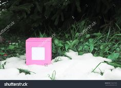 Decorative Pink Gift Box Standing On Fresh Snow Outdoors Stock Photo 518327590 : Shutterstock