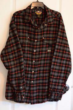 Harley Davidson Men's XL Tall Flannel Long Sleeve Shirt #HarleyDavidson #SnapFront
