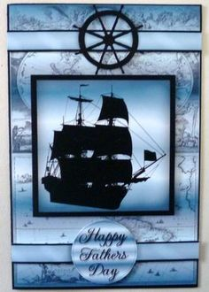 Blue Sailing Ship Silhouette Birthday on Craftsuprint designed by Vicki Avcin - made by Michelle  Chivers - Printed onto matte coated paper, then mounted onto black card stock. I siliconed the layers and finished of with a blue insert. - Now available for download!