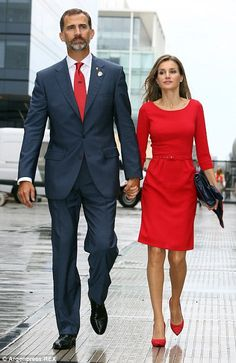 Prince Felipe and Crown Princess Letizia leaving after Madrid had been eliminated from the...