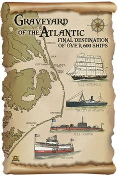 Graveyard of the Atlantic - Shipwrecks - Outer Banks, North Carolina - Lantern Press Poster