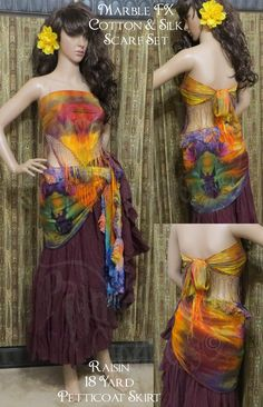 Fringed Silk Scarf and Cotton Scarf hand dyed in many different colors and marbling.  Wear them on your head, as a top, on your hips for any look.  See more here:  http://www.paintedladyclothiers.aradium.com/577p2