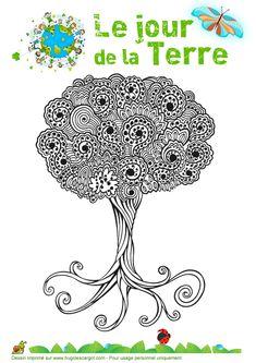 Coloriage d'un bel arbre pour célébrer le « Jour de la terre »