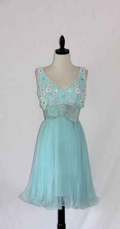 Vintage Dress - 1960's Miss Elliette Heavily Beaded Bodice and Accordion Pleated Skirt Party Frock