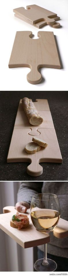 Puzzle cutting boards.... Love this.... would be great too for little house parties Would be great in a small garden http://www.nannagramming.com