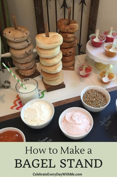 How to Make a Bagel Stand - Celebrate Every Day With Me - Now you can serve all your bagels and doughnuts in a fun way. Find out how to make this bagel stand - Bagel Bar, Parmesan Chips, Birthday Brunch, Easter Brunch, Birthday Breakfast, 30th Birthday, Bbq Dessert, Doughnut Stand, Donuts