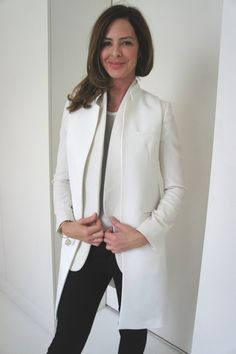 Another trick is to wear a gilet OVER a matching coloured jacket,  to create an instant coat, that has the flexibility to change according to temperature, great too for travel from a colder country to a warmer one,  and visa versa. Here I have taken the same Stella McCartney jacket in white and worn a white gilet from Zara (this season) over. trinny.london