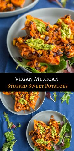 Simple Mexican Stuffed Sweet Potatoes topped with guacamole. Healthy, satisfying, comforting, and vegan.  via @themostlyhealthy