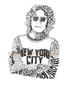 Word Art Typography Calligram of John Lennon by Joni James