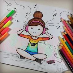 65 Ideas cool art drawings sketches for 2019 Easy Drawings Sketches, Girl Drawing Sketches, Girly Drawings, Cool Art Drawings, Pencil Art Drawings, Kawaii Drawings, Doodle Drawings, Colorful Drawings, Disney Drawings