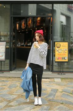 Korean Style Love the beanie and outfit