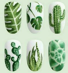 Botanical green and white nails