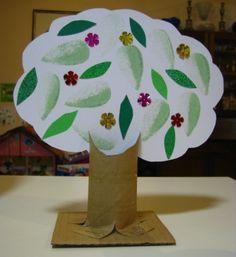Tu B'Shevat craft - 3 D.    http://joyfuljewish.wordpress.com/2012/01/18/cardboard-tree-for-tu-bshevat/