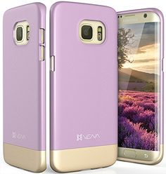Galaxy S7 Edge Case, Dock-Friendly Ultra Slim Fit Hard Case Cover for Samsung Galaxy S7 Edge (Lavender/Champagne Gold) Vena