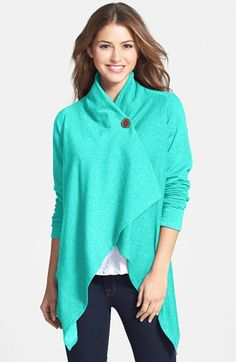 Free shipping and returns on Bobeau One-Button Fleece Wrap Cardigan (Regular & Petite) at Nordstrom.com. A dramatic, wrap-style cardi is cut with an asymmetrical hem and secured with a single button at the neckline.