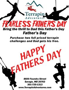 Do you have any plans this Father's Day? Head down to Terrapin Adventures for a fun-filled, high-flying time that dad will never forget.  Call 301-725-1313 or click http://www.terrapinadventures.com/book-your-adventure/ to reserve your spot!  #FathersDay