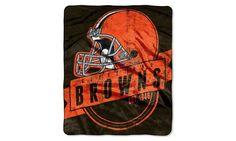 Cleveland Browns Blanket - 50x60 Royal Plush Raschel Throw - Grandstand Design - New Logo