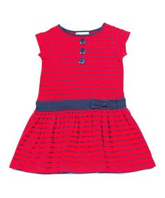 Look at this #zulilyfind! Red & Navy Stripe Drop-Waist Dress - Toddler & Girls #zulilyfinds