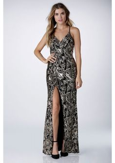 Star Of The Night Sequin Maxi Dress in Gold